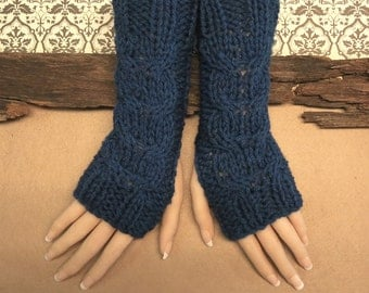 Navy Fingerless Gloves, Wrist Warmers, Cabled Arm Warmers, Womens Chunky Knitted Gloves, Australia, Nchanted Gifts