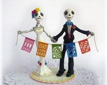 Alternative Wedding Cake Toppers Skeleton Day of the Dead Custom Made Bride and Groom Rustic Mexican Dia de los Muertos True Love Never Dies
