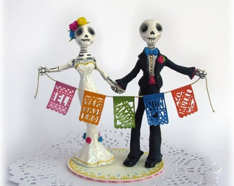 Alternative Wedding Cake Toppers Skeleton Day of the Dead Custom Made Bride and Groom Rustic Mexican Dia de los Muertos True Love Never Dies