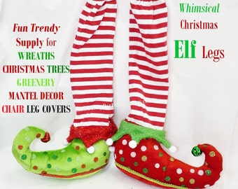 ELF Legs /Striped Stockings Dotted Shoes - Supply for WREATHS - Floral Arrangement Tree Topper  Mantel Chair Leg Cover d.i.y. fill & craft