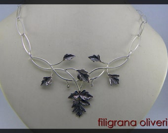 Necklace  leaves burnished silver 925