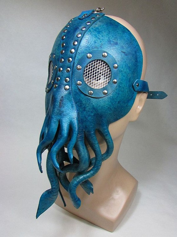 Cthulhu leather mask with tentacles , ready to ship! Lovecraft inspired speckles teal and blue with silver rivets and mesh lenses