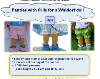 pdf handbook on sewing, Pattern pdf, panties for dolls Waldorf,14-15-16-17 inch doll clothes sewing pattern pdf, doll clothing pattern,