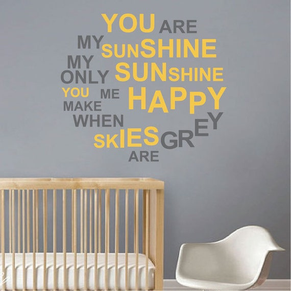 You Are My Sunshine Decal by TrendyWall Designs