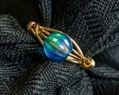 Pacific Blue Czech Glass Bead Ring - Size 6