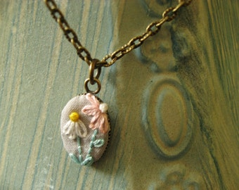 Flower pendant, Pink and White floral embroidery, Ready Made