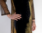 RESERVED / Sold Vintage Vietnamese Ao Dai tunic dress luxurious black and gold soft velvet, lace and satin glamorous hand painted flower