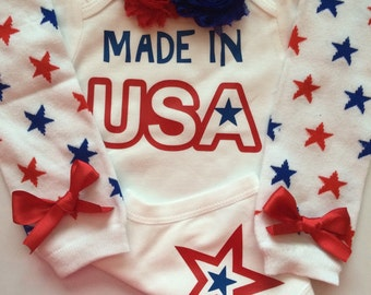 Baby Girl Outfit-  Personalized baby shirt - 4th of july baby - Patriotic baby girl  - baby legwarmers --Made in the USA
