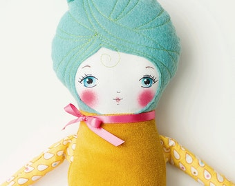 Handmade Cloth Doll Blue Hair, Art Doll, Rag Doll