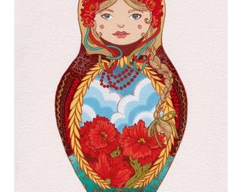 Polish Dancer Polska Babushka Matryoshka Doll Decorative Art Print