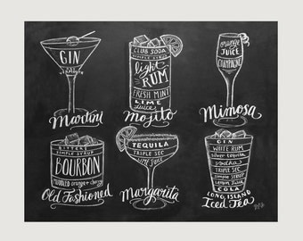 Bartender Gift - Cocktails Print - Bar Cart Art- Chalkboard Art - Kitchen Art - Bartender Gift - Chalk Art