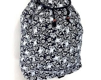 Women bag Elephant Cotton Bag Hippie bag Hobo bag Boho bag Backpack Tote bag diaper bag Travel Bag Purse School bag Everyday bag Black