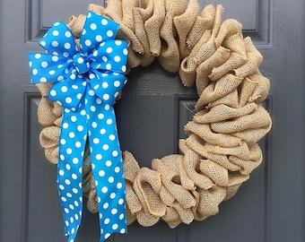 Burlap Wreaths, Cute Wreaths, Turquoise, Polka Dots, Polka Dot Wreaths, Burlap Door Wreath, All Season Wreath