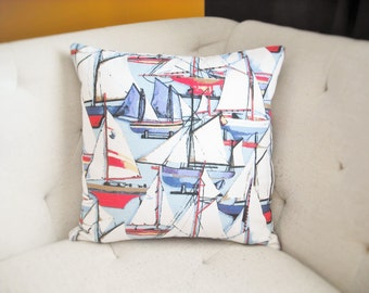 Nautical Sailboat Pillow Cover 18x18 in Blue, Red, Yellow, White