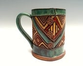 Geometric Button Mug  ~ Hand Built and Carved ~  Blue Green, Turquoise, Sienna, Red, Brown, Tan ~ Unique, Original ~ 16 oz ~ Triangles