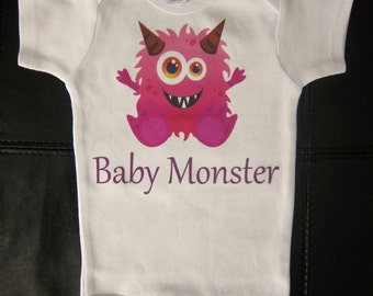 little monster one piece for baby girl birthday photo shoot