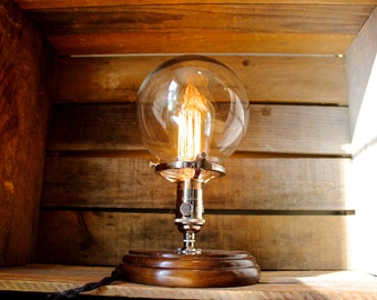 Glass Globe Edison Bulb Table Lamp   Industrial Lighting, Modern Decor