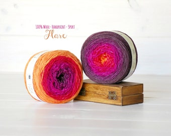 2 Hand Dyed Yarn Balls - 100% Wool - Color: Flare Ombre - 1Ply Sport Yarn - Colorful Soft Yarns by Freia - 2 Balls - Orange and Fuchsia Yarn