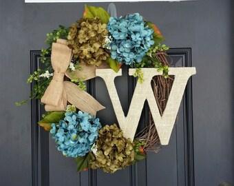 Hydrangea Wreath, Summer Monogram Wreath, Housewarming, Turquoise Blue & Olive Green Hydrangea Wreath, Mothers Day Gift