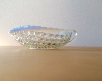 Vintage 40's Candy Dish - Hobnail Opalescent Moonstone Dish by Anchor Hocking