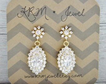 CLEARANCE Gold Cubic Zirconia Bridal Earrings Floral Marquise Pendant Stud Post Bridesmaid Wedding Fancy Jewelry