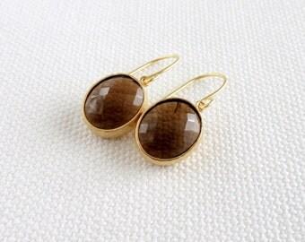 Smoky Quartz Earrings, Brown Oval Modern Gold Dainty Earrings, Bezel, Modern Bridal Simple