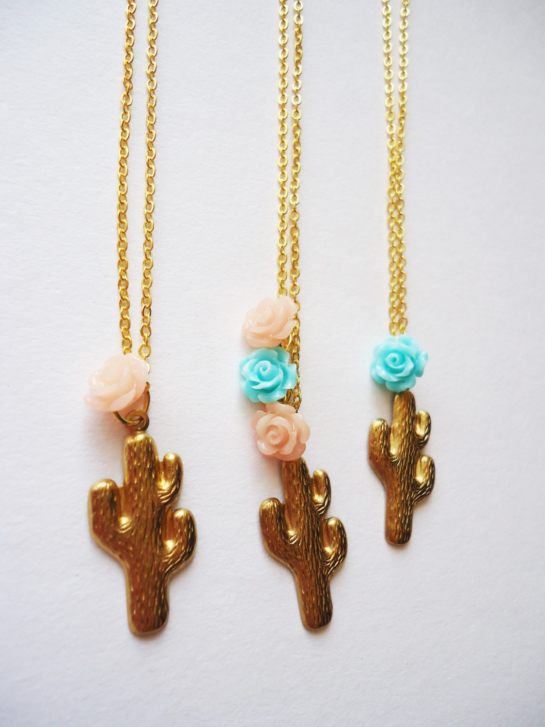 cactus necklace with pink flower 18 gold by waspsnestvintage