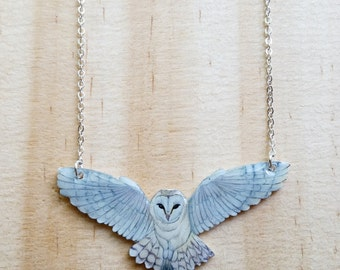 Barn owl necklace. White owl gloss pendant on (your choice) faux gold or faux silver 19 inch chain.
