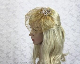 Short Gold Veil, Gold Wedding Veil, Gold Bridal Veil Short, Short Veil Gold
