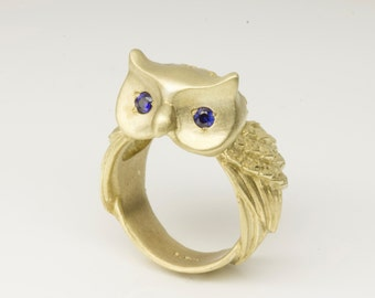 SALE-Blue Sapphires eyed Baby Owl Ring in Brass, Brass ring with Blue Sapphires