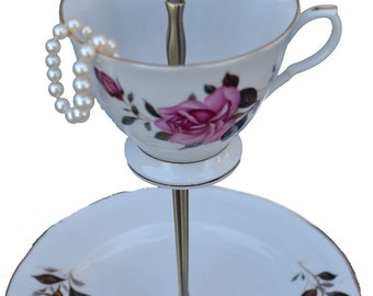 Teacup Display,  Pink Rose China Jewelry Dish Hostess Housewarming Gift, Floral Tiered Server, Tidbit Stand, Tea Cup Jewelry Stand