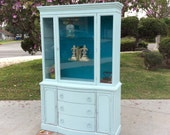 SOLD* Antique Vintage Shabby Chic  Breakfront Nursery China Hutch with Dragonfly Pull