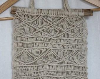 Crochet bag 70s Macrame on carved wooden Dowels OPEN weave artsy Boho hippie vintage Handmade bag One of a kind Unlined bag Festival bag