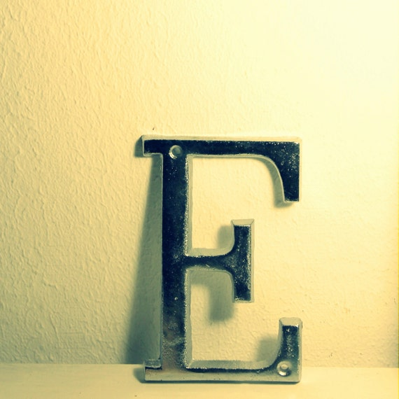 Silver Letters Wall Decor : Alphabet art silver letter e wall home