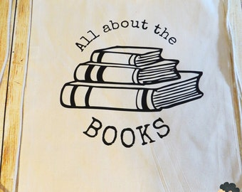 All about the Books Drawstring Cotton Backpack/gym bag