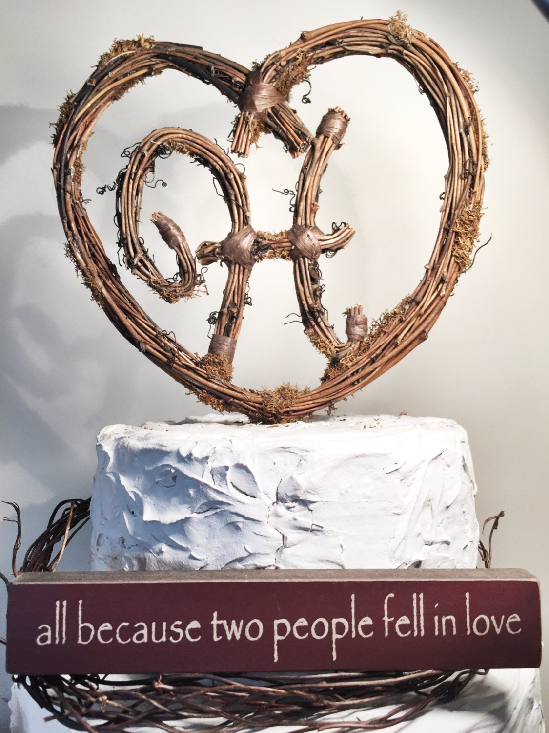 Rustic Twig Monogram Heart Wedding Cake Topper by