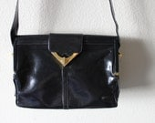 Vintage 1960s G. Papini Black Leather Purse Made In Italy