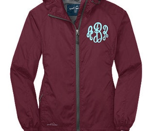 Monogrammed LADIES Hooded Jacket Rain and Wind Jacket available in sizes XS-2XL-Packable, Lightweight Rain Jacket, Wind Jacket, Full zip