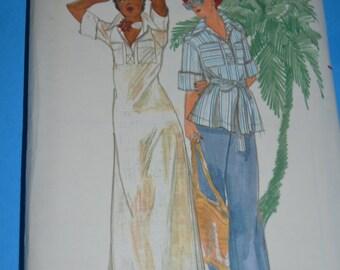 70s Butterick 4251John Kloss Misses Dress Top and Pants Sewing Pattern-UNCUT Size 8
