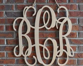 """24"""" Wooden Monogram Letters Vine Font, 3 letter monogram"""