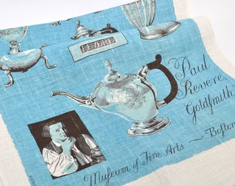 Vintage Souvenir Towel, Paul Revere Towel, Museum of Fine Arts, Boston Souvenir Towel, Blue White Towel, Linen Towel, Kitchen Towel