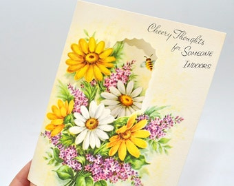 Vintage Get Well Card, Unused, Vintage Greeting Card, Floral Card, Get Well Soon Card, For Her, Vintage Stationary