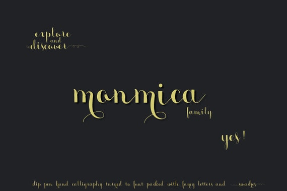 Digital Font | INSTANT DOWNLOAD |monmica font family | entire font family  | Open Type Fonts (.otf)
