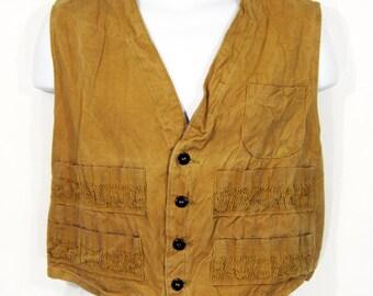 Vintage Duck Cloth Hunting Vest Sz.M 1930's/1940's