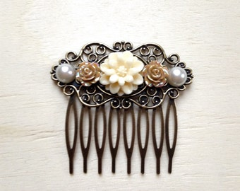 Floral Antique Style Hair Comb - Filigree Hair Comb - Brown - Cream - Pearl