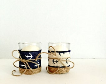 Reserved listing for Jeanne 12  nautical wedding votive- burlap trim anchor ribbon - jute twine.wedding - centerpiece Nautical baby shower