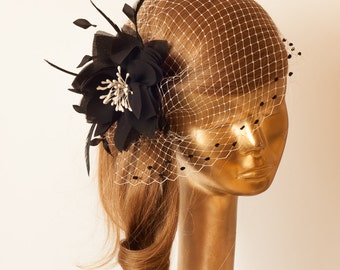 BIRDCAGE VEIL with Black Flower