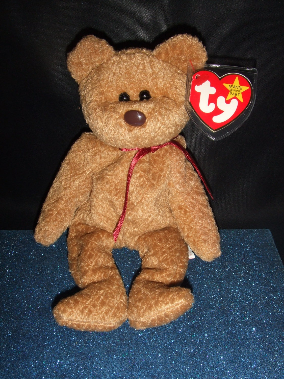 curly the bear beanie babies collection original with errors. Black Bedroom Furniture Sets. Home Design Ideas