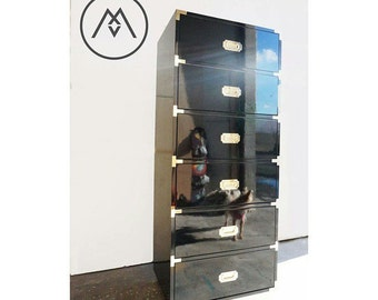 Tall Campaign Dresser / Chest Of Drawers - Built2Order Custom Furniture w/Automotive Finishes (Your Choice of Color)