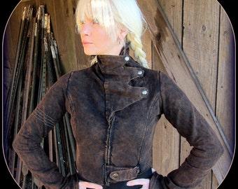 Steampunk Coat ~ Brown Black Burning Man Cropped Jacket w/ Brass ~ Women's Victorian Post Apocalyptic Festival Airship Pirate Garb Stonewash